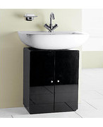 Stockholm Black Gloss Under Sink Cupboard Bathroom Cupboards For